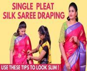 #sareedraping #silksareedrape #sareedrapingtutorial #sareehacks #sayswag<br/><br/>Here in this Video, Celebrity Saree Drapist Kalyani shows us how to drape saree in single pleat for chubby women. She gives the right tips and tricks to look stunning in a silk saree and how to handle single pallu saree in a flawless way.<br/><br/>Wardrobe Courtesy: Jyothi Textiles, https://www.instagram.com/jyothidresses/?hl=en<br/>Makeup: Dream Shades Makeup Artistry https://www.instagram.com/dreamshades_makeupartistry/<br/>Saree drapist insta ID: https://instagram.com/kalyani_hairstylist?igshid=14paq5b92ghj1<br/><br/>Credits:<br/>Reporter: Suriya Gomathi | Camera: MuthuKumar A | Edit: Shreeraj | Producer: Priyanka<br/><br/>Say Swag is a channel dedicated to Fashion and Lifestyle covering a variety of topics such as natural Skincare, Haircare, and Styling, Health and Beauty Tips, all in the Tamil language. <br/><br/>Follow us on: https://www.facebook.com/SaySwag.in & https://www.instagram.com/sayswag_official/